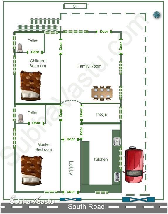 Two bedroom vastu home plan for South Face Plot | a | Pinterest ...