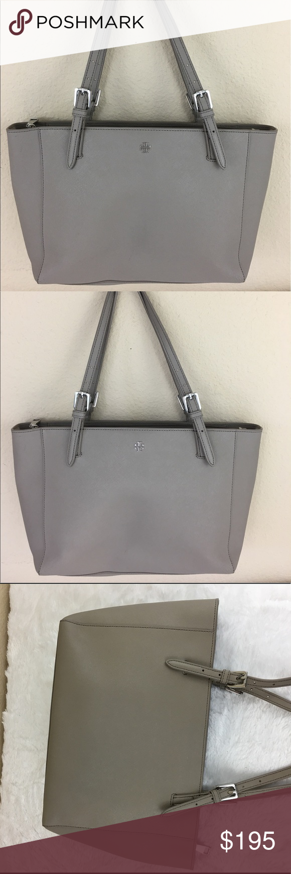 92924080f165 Tory Burch York Buckle small tote French gray Great condition Tory Burch  Bags