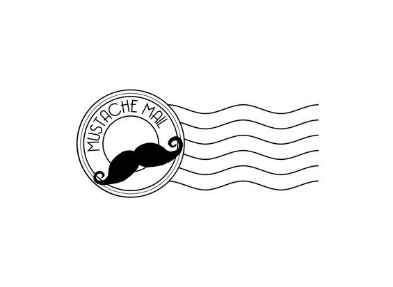 Mustache Mail Postal Cancellation Rubber Stamp By