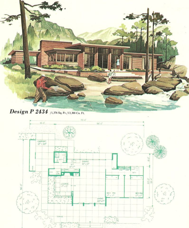 Vintage House Plans 2434 Modern Floor Plans Mid Century Modern House Plans Vintage House Plans
