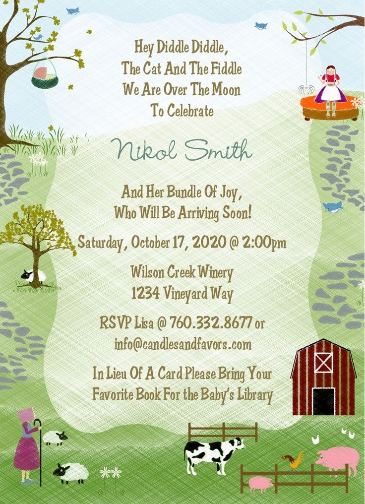 jungle theme baby shower invitation sayings%0A Save this pin  Nursery Rhyme Baby Shower Invitations   Candles and Favors