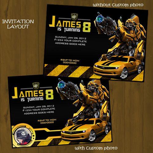 Bumblebee Transformers Printable Birthday Invitation Transformer Birthday Printable Birthday Invitations Birthday Invitations
