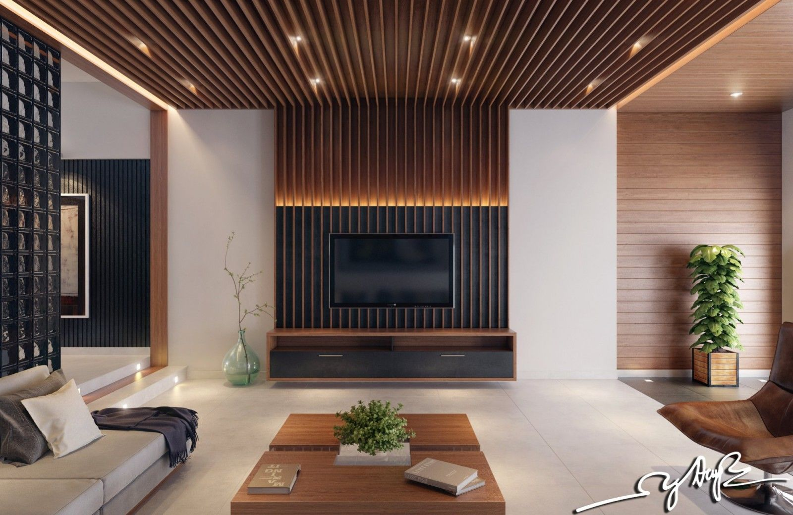 Lines on ceiling merge vertically with fireplace , Vertical