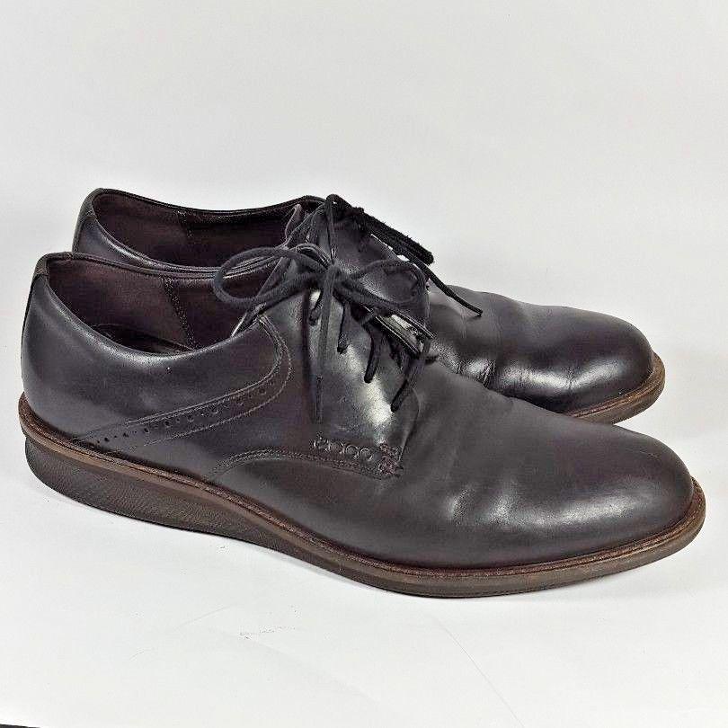 3e3e3865a602 Ecco Derby Oxfords wedge heel black leather mens 45 11 11.5  ECCO  Oxfords