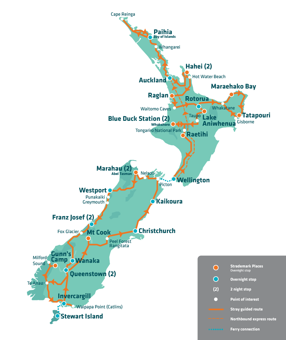 New Zealand Route Map.Stray New Zealand Bus Pass Route Map 2018 New Zealand Travel
