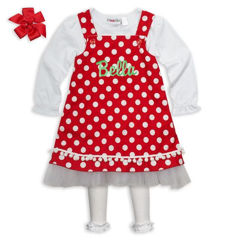 79125fede5fe4 Dots of Christmas cheer! Shop kids clothing at Lolly Wolly Doodle. Red Dot  Tulle Ruffle A-line Dress $32. Made to order!