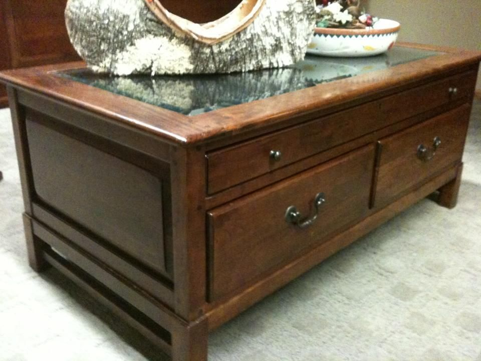 Vintage Antique Cherry Walnut Table Marble Surface