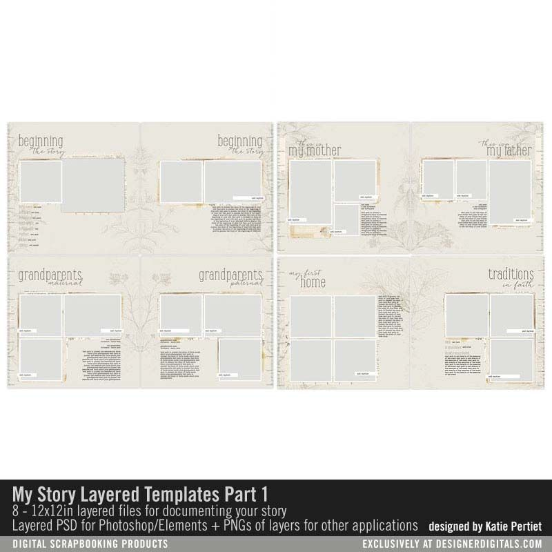 My Story Template Pack No 01 Heritage scrapbook album in layered