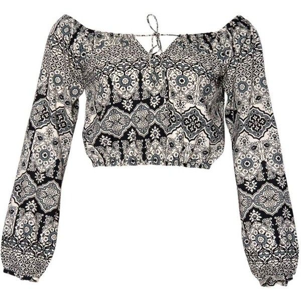 Giar Off The Shoulder Crop in Folklore by Motel (€42) ❤ liked on Polyvore