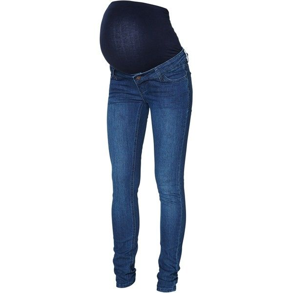 Mamalicious Noos Shelly Slim Fit Maternity Jeans, Denim Blue (2.995 RUB) ❤ liked on Polyvore featuring maternity and maternity clothes
