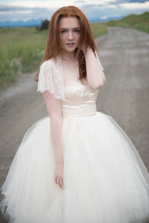 Marie Lace Jacket / Flutter Sleeve / Lace Wedding Dress