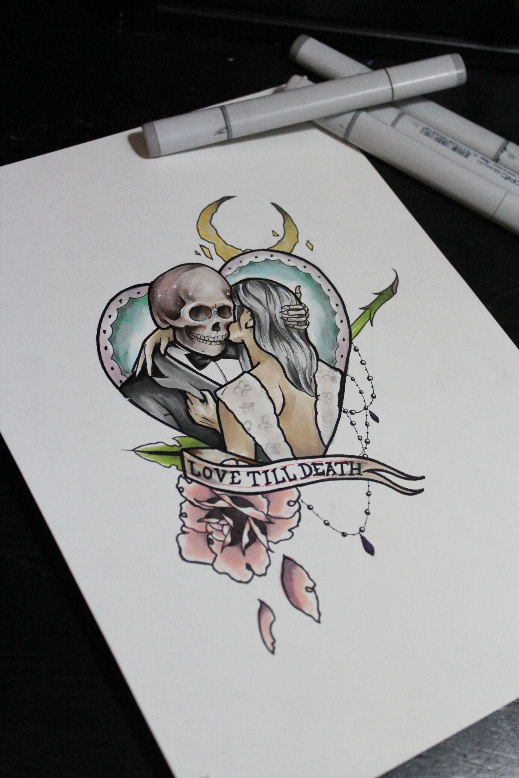 Love writing tattoo designs - Love Tattoo Skeleton Tattoo Love Till Death