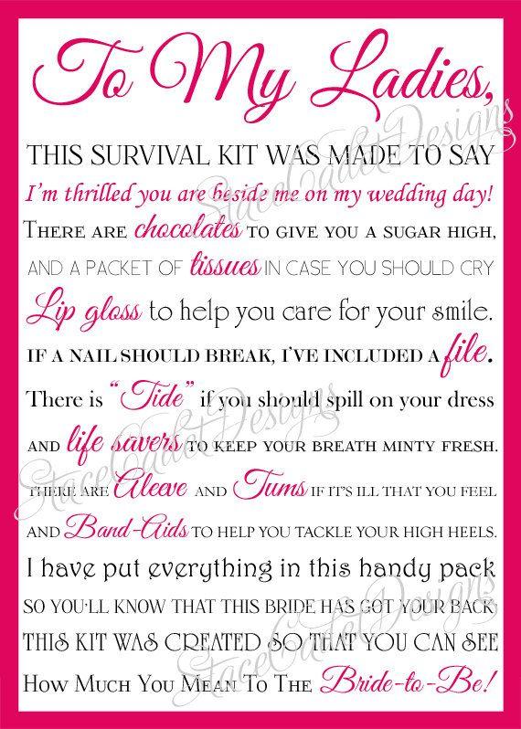 Bridesmaid survival kit poem.   Wedding bells   Pinterest ...