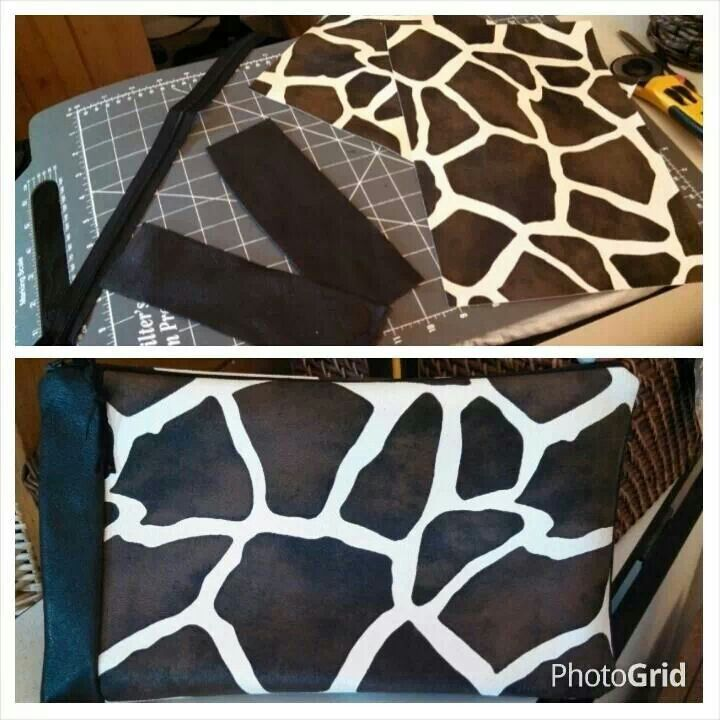 DIY clutch using hobby lobby fabric sheets and upcycled leather