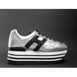 Sneakers Con Zeppa 'H222' In Pelle Con Glitter HOGAN