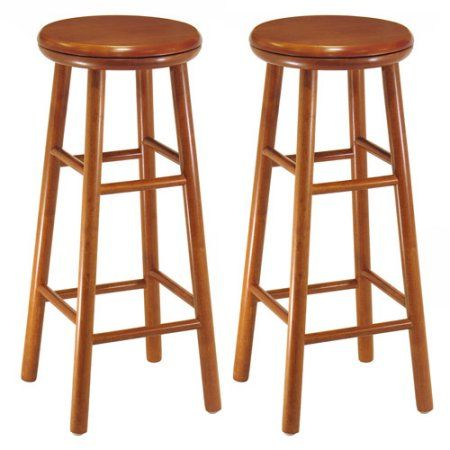 Wood Swivel Seat Kitchen Stool 30 Inch Set Of 2 Cherry Red Endearing Walmart Kitchen Stools Design Inspiration