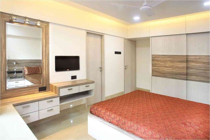 Master Bedroom With Mirror Design By Suneil Verma Interior Designer In Mumbai Maharashtra