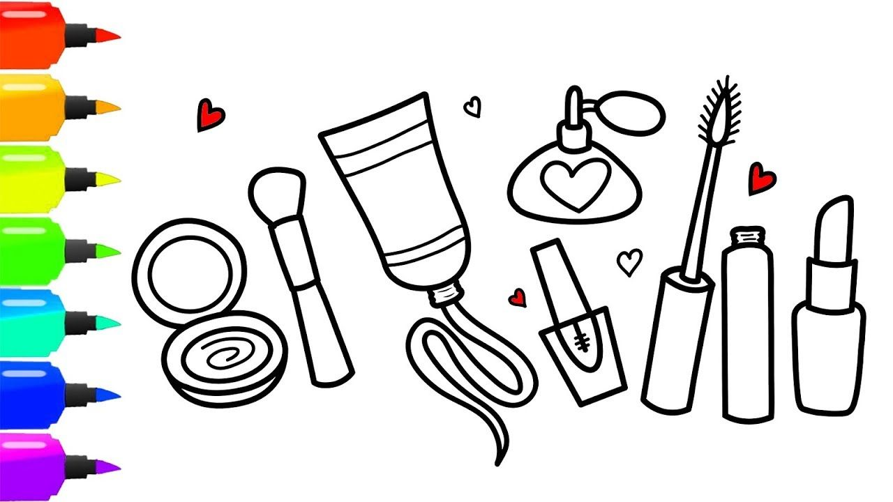 Coloring 7 Makeup Tools Set Drawing And Coloring Page For Girls How To Draw A Lipstick