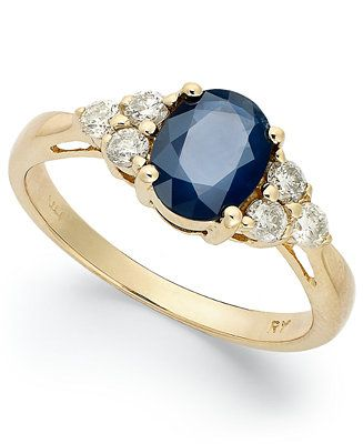 14k Gold Ring, Sapphire (1-1/2 ct. t.w.) and Diamond (1/3 ct. t.w.) Oval Ring - Rings - Jewelry & Watches - Macy's