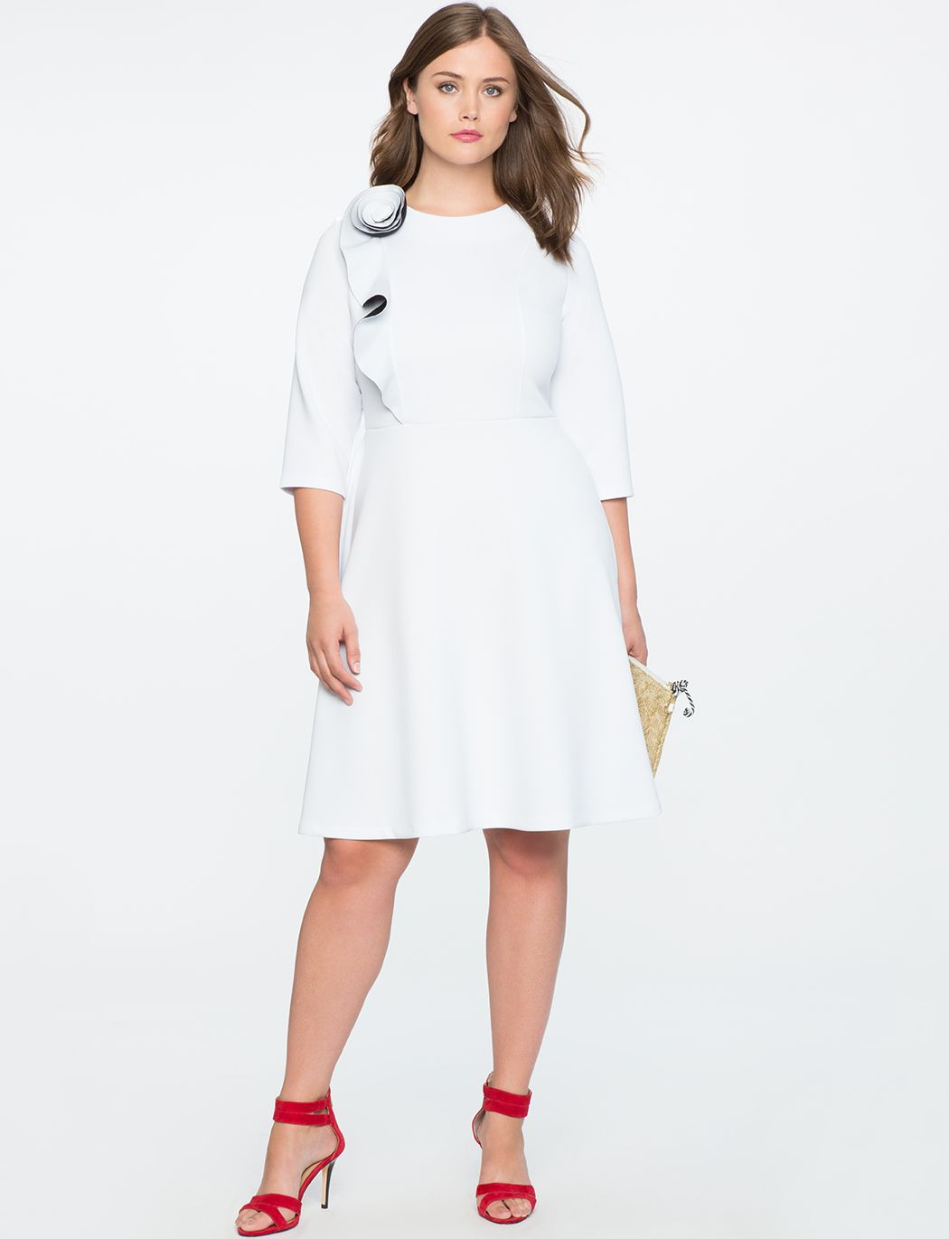 Rosette Fit And Flare Dress White Fit And Flare Dress Plus Size Dresses Womens Dresses [ 1370 x 1050 Pixel ]