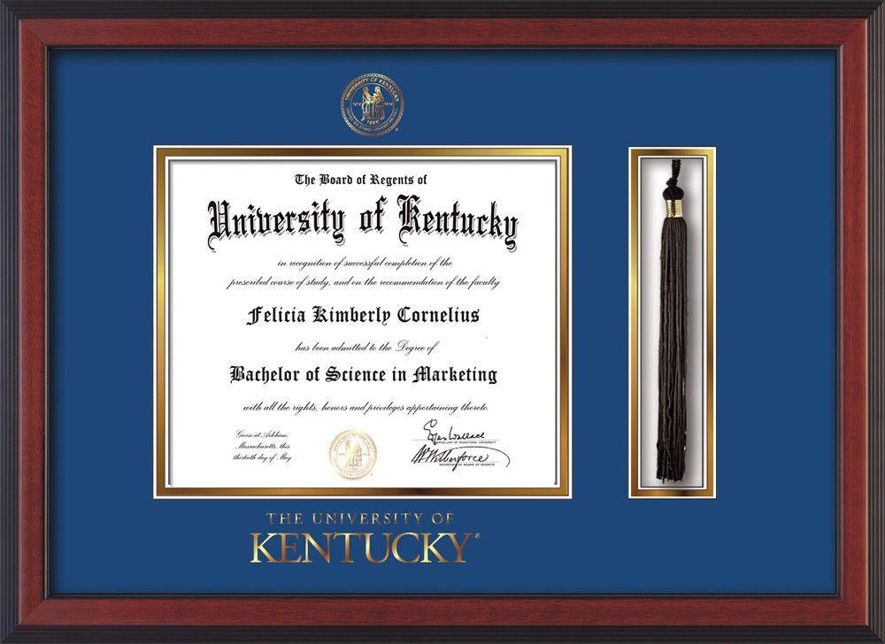 University of Kentucky Diploma Frame - Cherry Reverse - w/Embossed ...