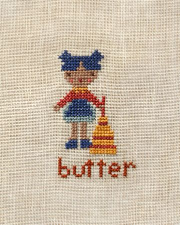 Original cross stitch patterns for the Farm Folks: apples, wool, eggs and butter