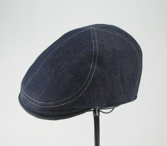 d3bdc14b3 Denim 6-Panel Handmade Flat Cap Driving Cap for Men in by Sookie ...