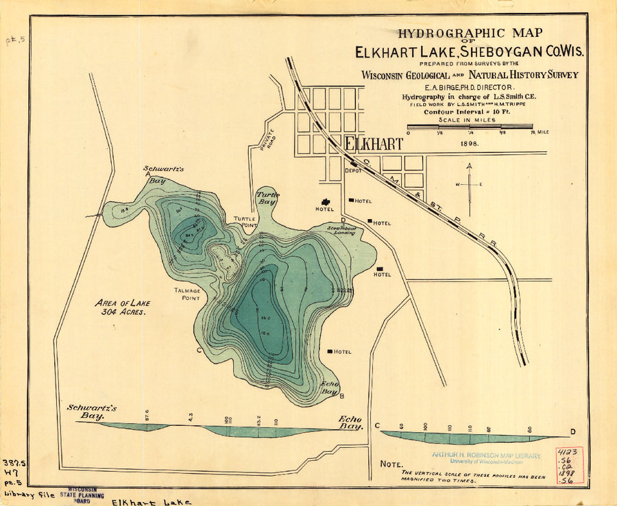 Hydrographic map of Elkhart Lake Sheboygan County Wisconsin from