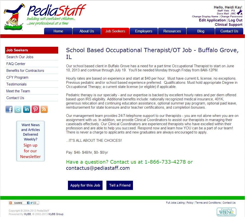 School Based Occupational Therapist/OT Job Buffalo Grove