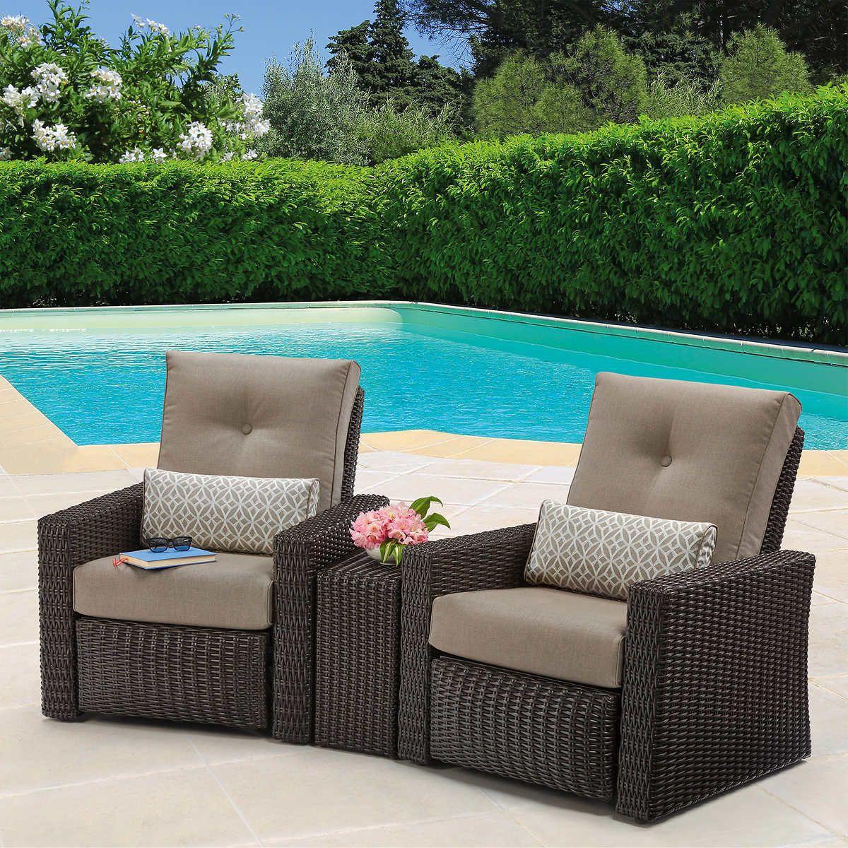 layton 3 piece woven outdoor recliner