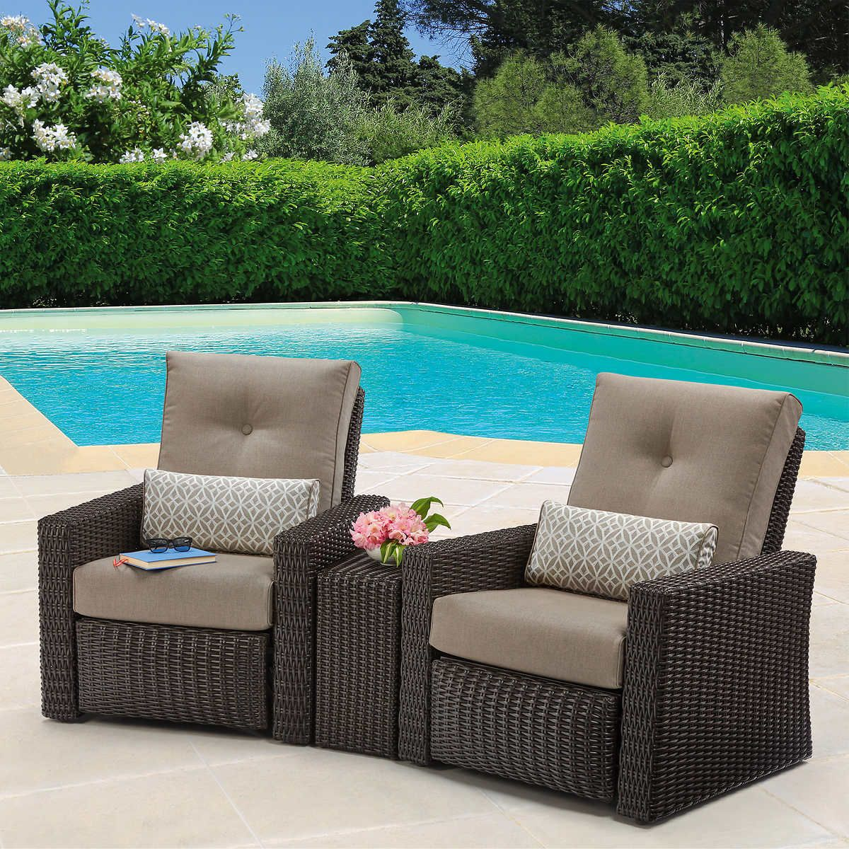 Layton 3 Piece Woven Outdoor Recliner Set Outdoor Recliner Outdoor Furniture Sets Patio Couch