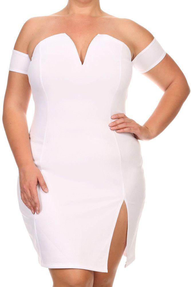 de2a96596c3 Plus Size Mia Plunging Neckline Off Shoulder Dress – PLUSSIZEFIX ...