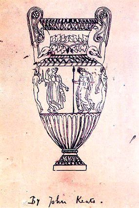 Drawing By Keats Of The Sosibios Vase On Which The Ode To A Greecian