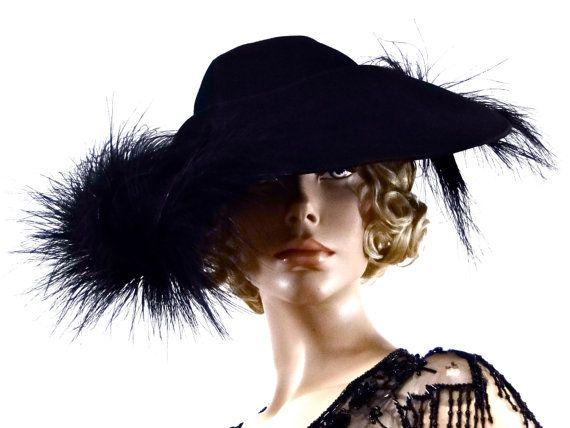 3540243b7ed Dramatic Black Feather Hat 1940 s Designer Peg Fischer New York Vintage  Fashion Accessories