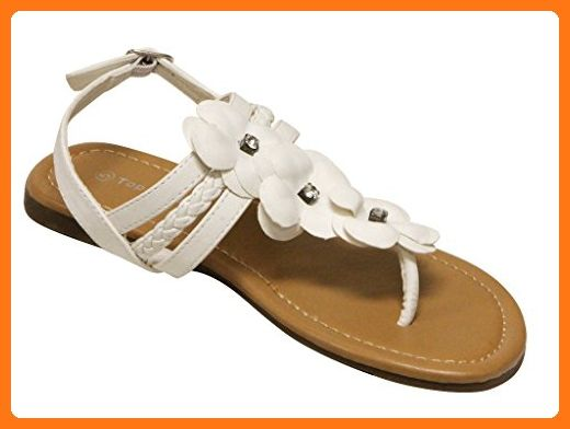 648a4699d Top Moda NG-3 women s thong toe rhinestone flower ankle strap slingback sandals  White 7 ( Partner Link)