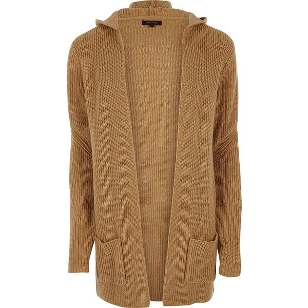 River Island Camel brown open hooded longline cardigan ($45 ...