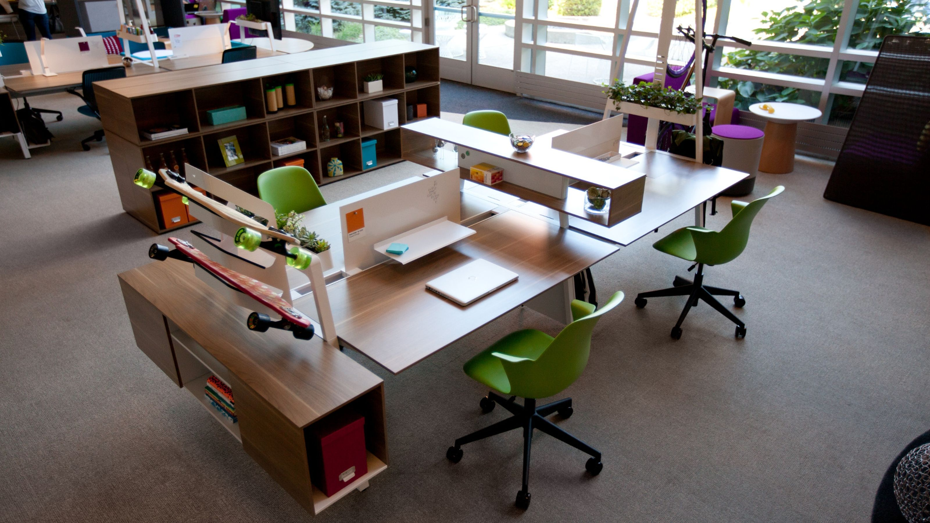 Modern Workstation With Bivi Table For Two, Bivi Trunk, And Shortcut Chair