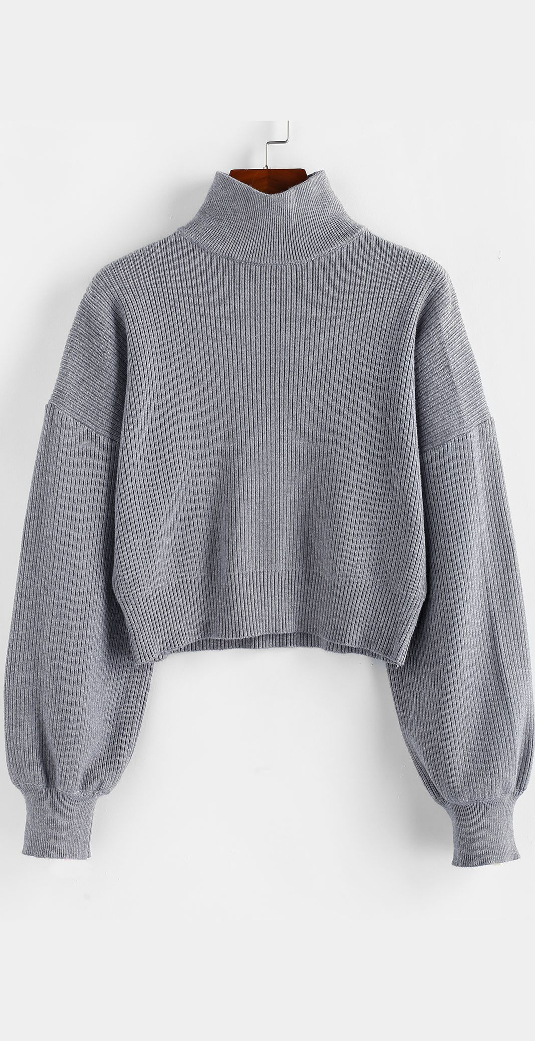 High Neck Drop Shoulder Plain Sweater