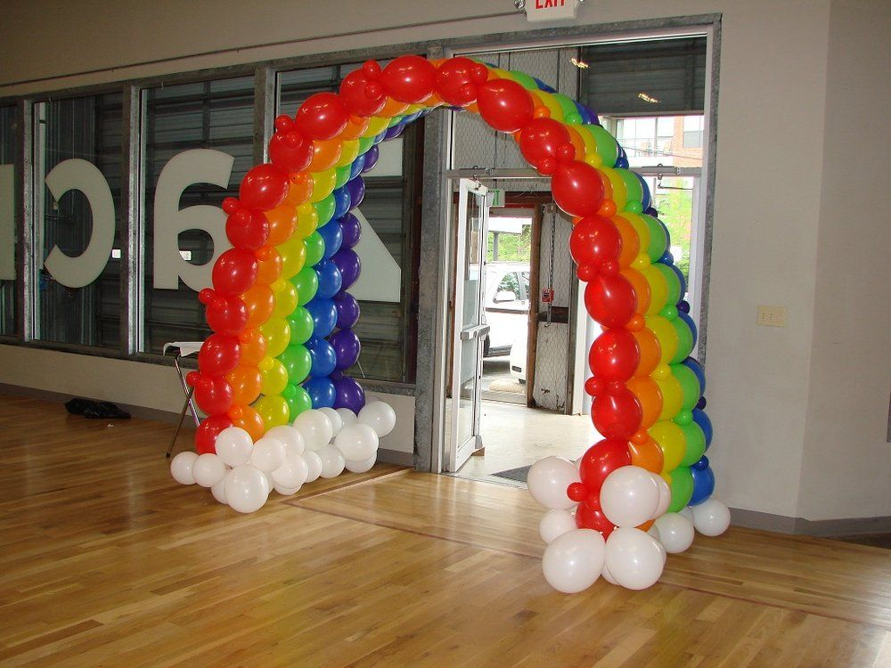 Rainbow arch balloon arches canopies pinterest for Arch balloon decoration