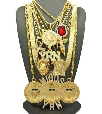 Migo Chain Set 9 Pieces Migos Jewelry Herringbone