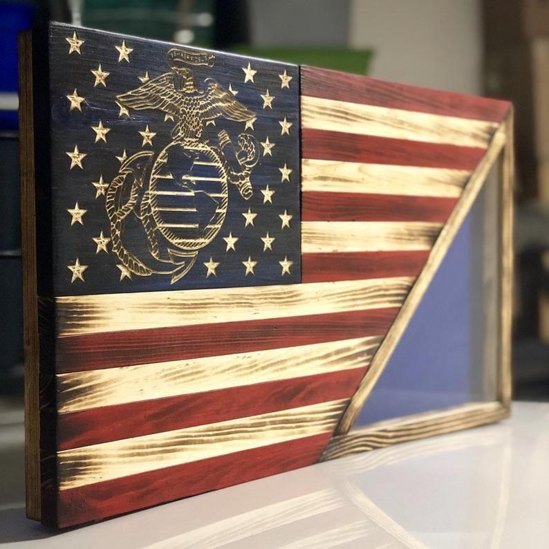 26x14 Wooden American Flag With Usmc Eagle Globe Anchor And Etsy Wooden American Flag Rustic Flags Rustic American Flag