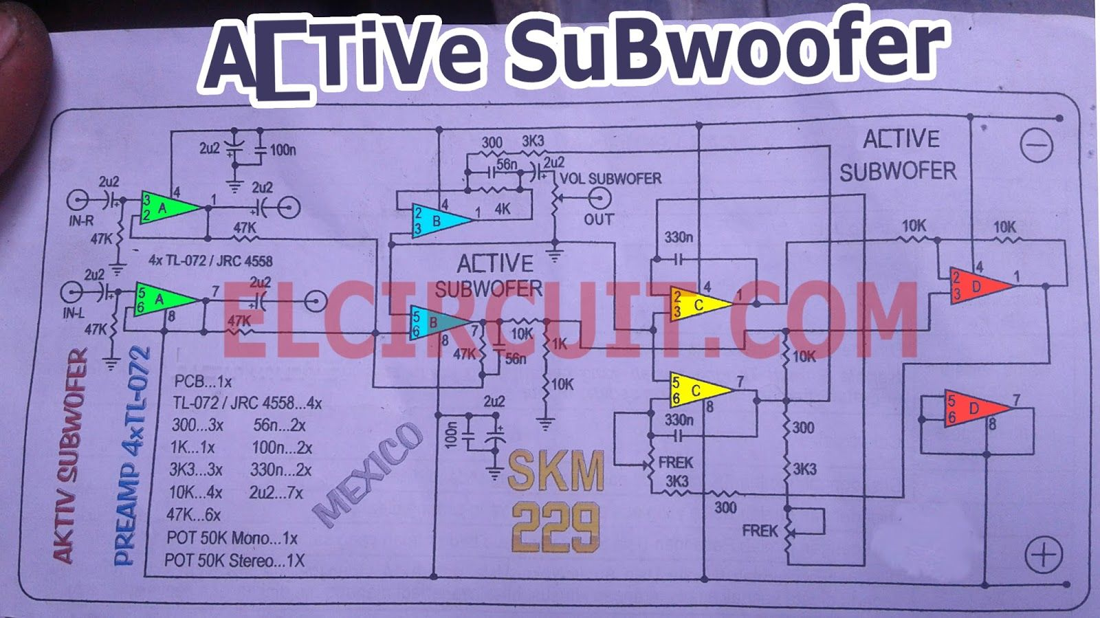 Active Subwoofer Circuit Tl082 Tl072 4558 Sub3 Simple Remote Control Tester Eleccircuitcom Schematic Diagram