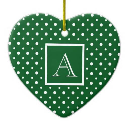 Cute Heart Shaped Ornament, Green & White Polka Dots, add your Initial on the Gold & White Label #Christmas #ornament #heart #monogram