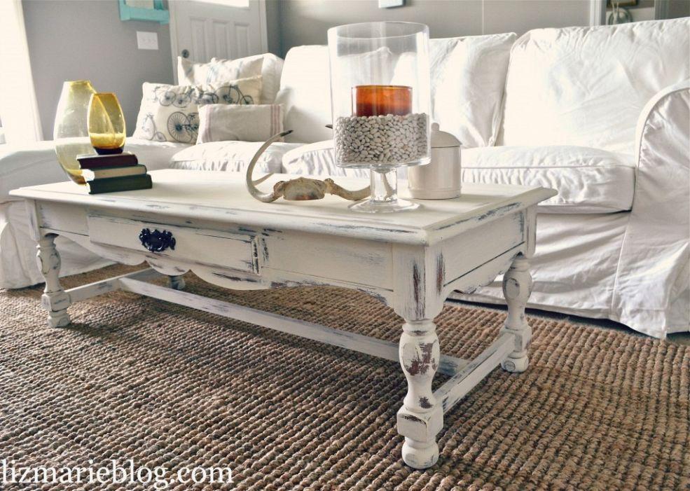 Shabby Chic White Coffee Table Re Do Table De Salon Mobilier De Salon Style Deco
