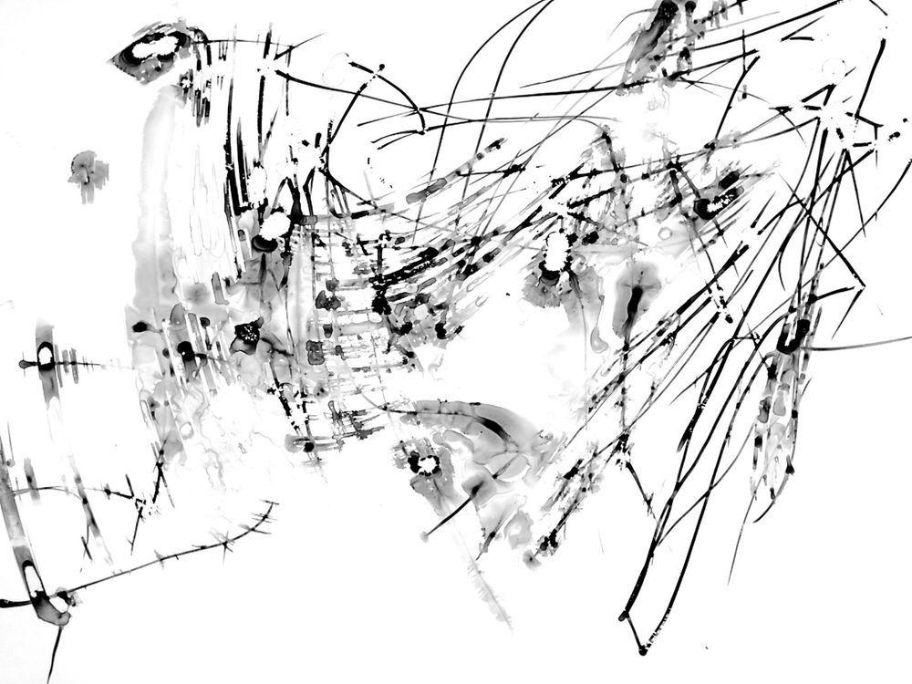 22x32cm expressiv schwarz wei kunst abstrakt tusche zeichnung aquarell minimal zeichnungen. Black Bedroom Furniture Sets. Home Design Ideas