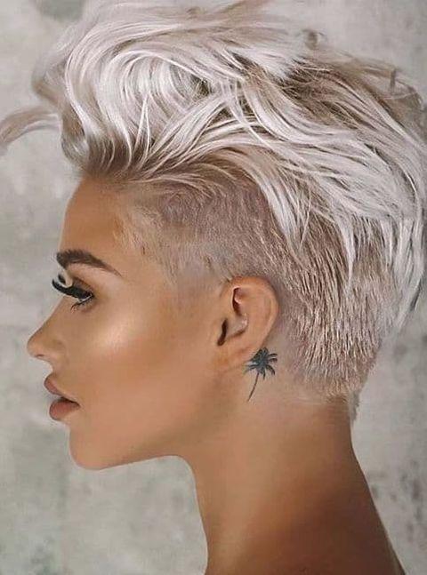 Undercut haircut grey hair 2020