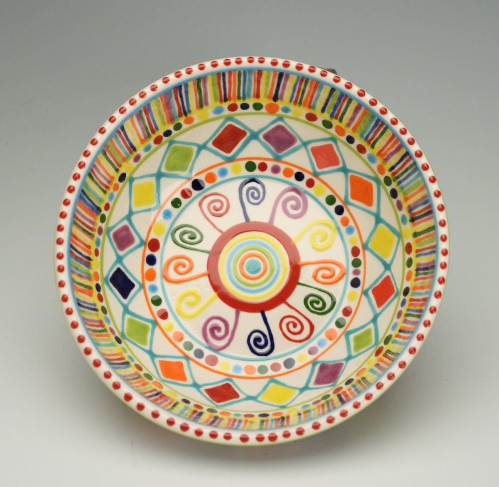 Bohemian mandala elegant bowl colorful hand painted for Paint and pottery