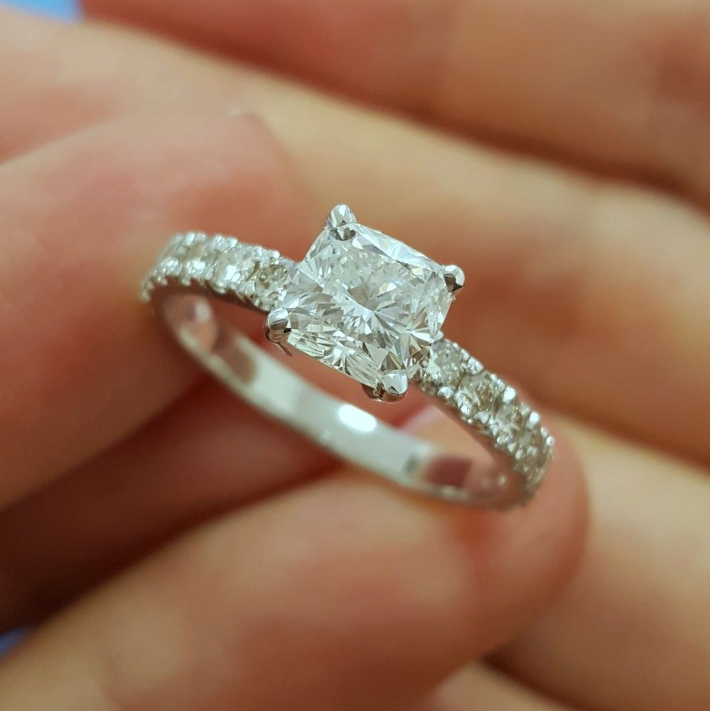 Details about ct cushion cut diamond engagement ring white gold