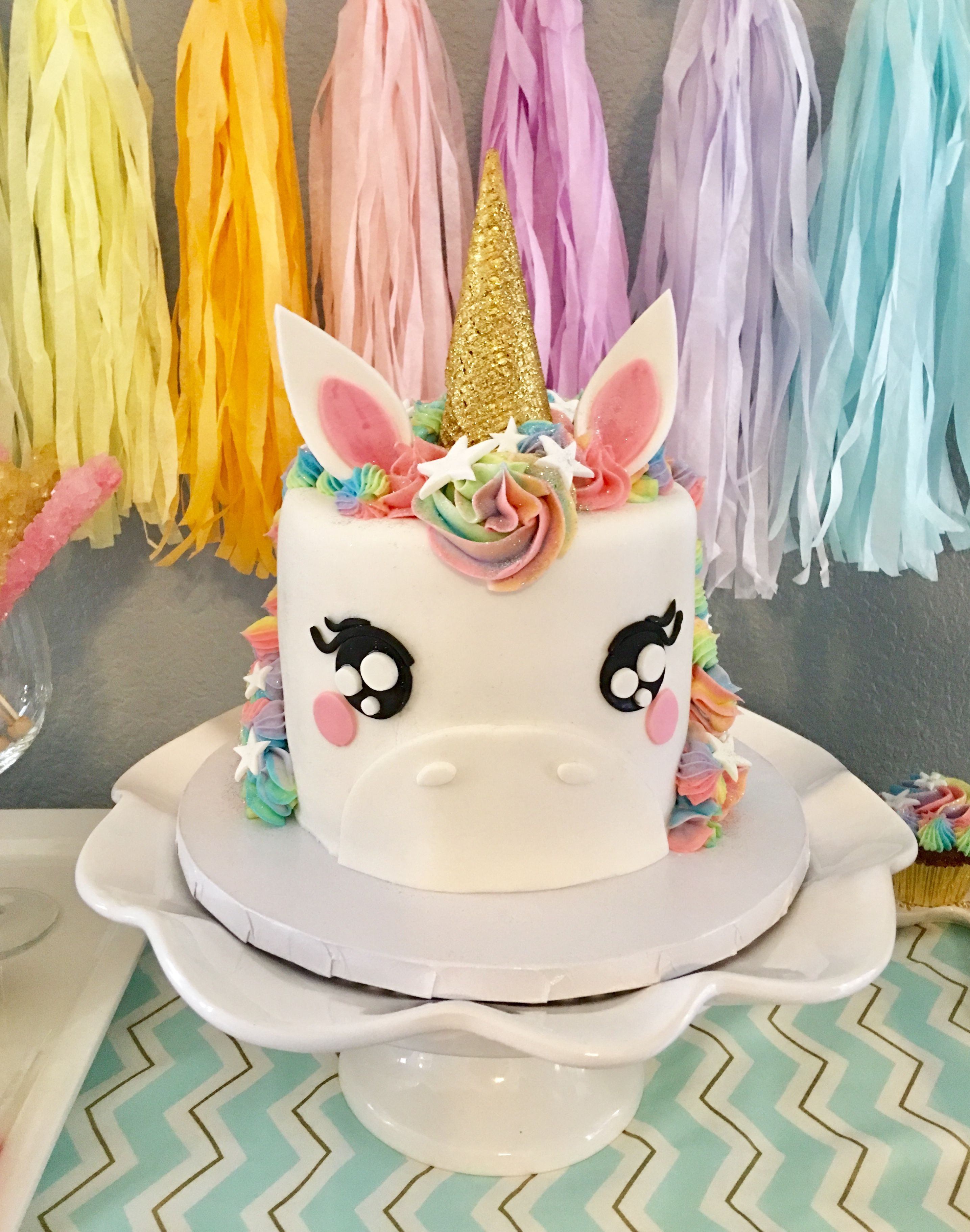 Pretty Rainbow Colored Unicorn Cake Ears And Horn Made Of Cereal