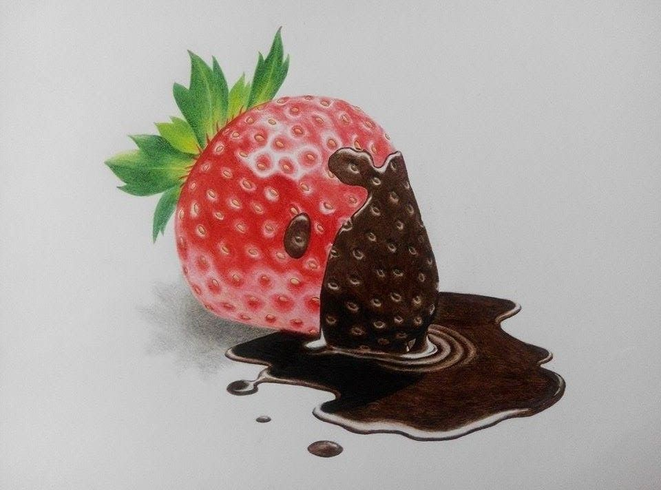 Strawberry Chocolate Drawing Art By Kaeious Ooi Chocolate Drawing Chocolate Strawberries Strawberry Drawing